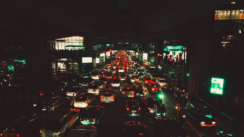 A city road during rush hour traffic